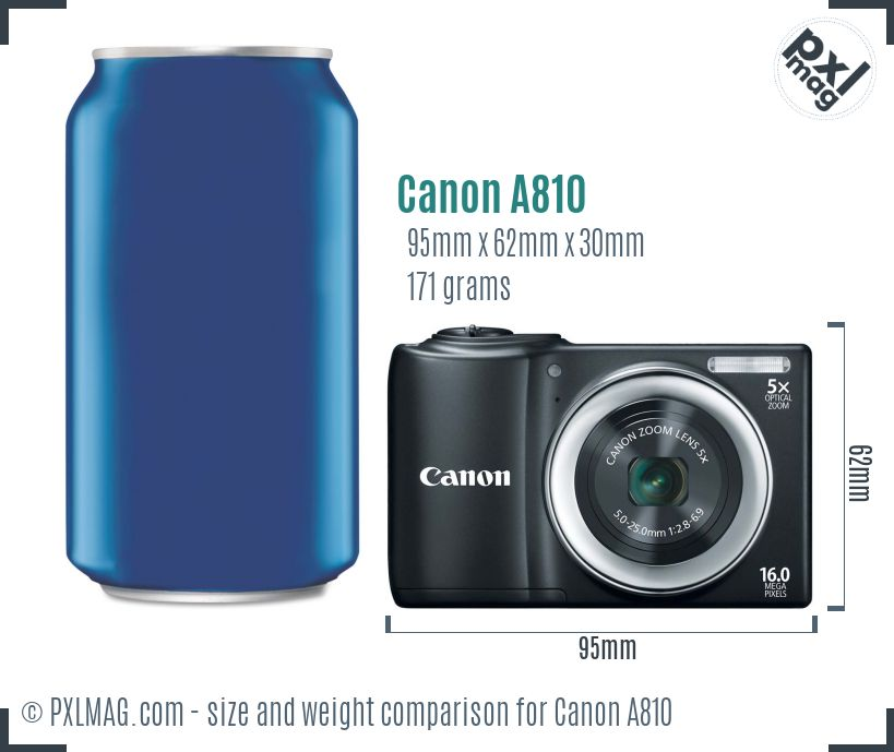 Canon PowerShot A810 dimensions scale