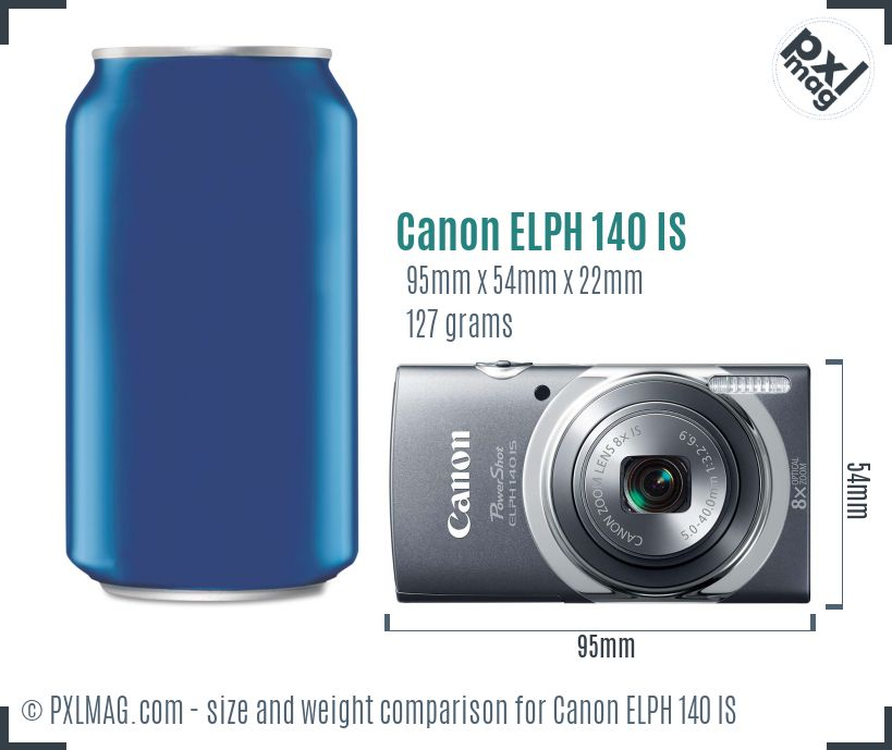 Canon PowerShot ELPH 140 IS dimensions scale