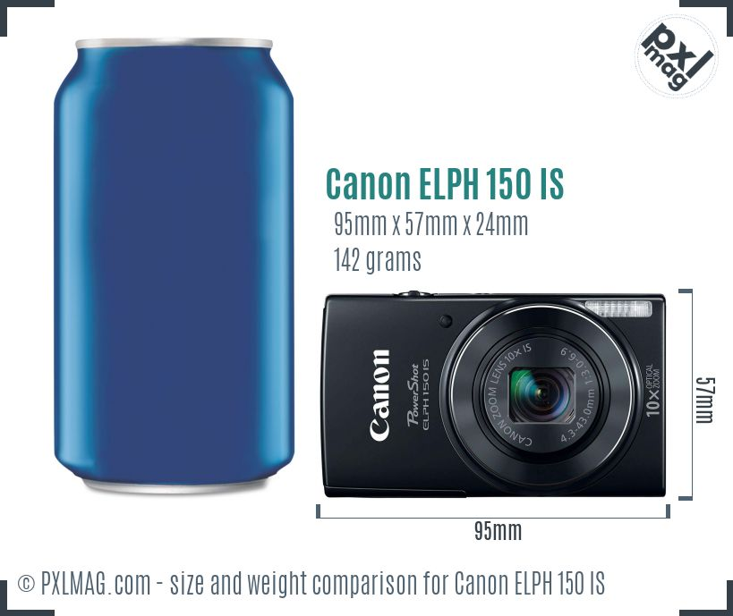 Canon PowerShot ELPH 150 IS dimensions scale