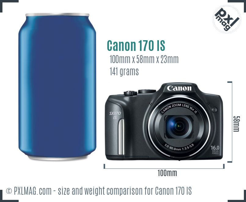 Canon PowerShot ELPH 170 IS dimensions scale