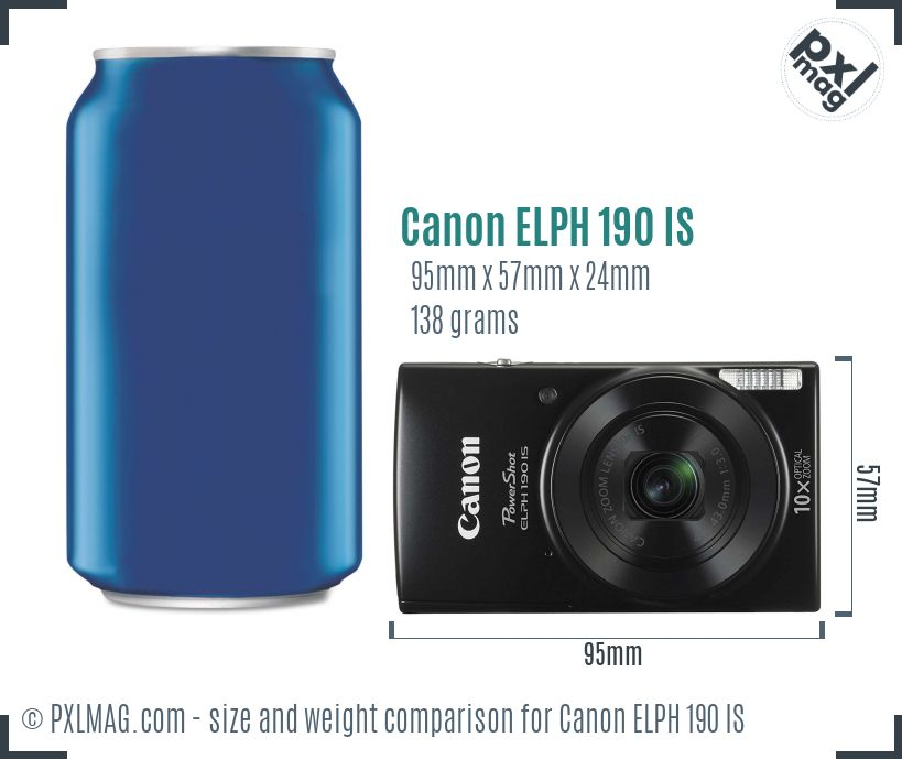 Canon PowerShot ELPH 190 IS dimensions scale