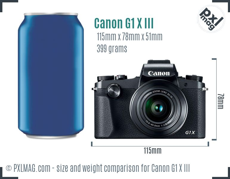 Canon PowerShot G1 X Mark III dimensions scale