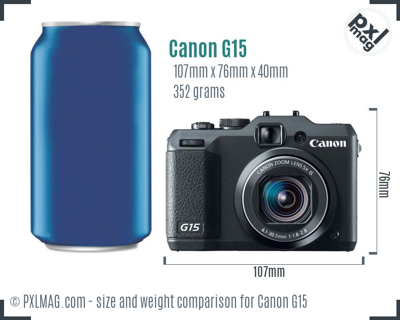 Canon PowerShot G15 dimensions scale