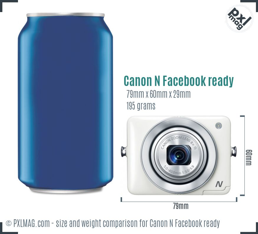 Canon PowerShot N Facebook ready dimensions scale