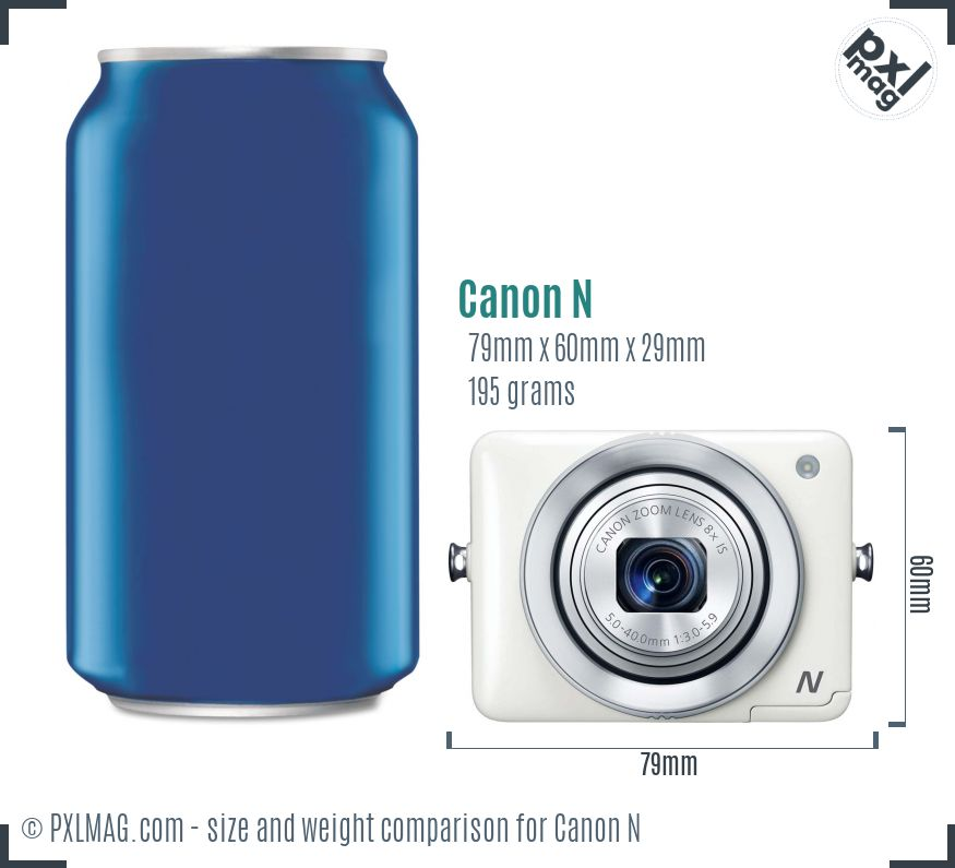 Canon PowerShot N dimensions scale