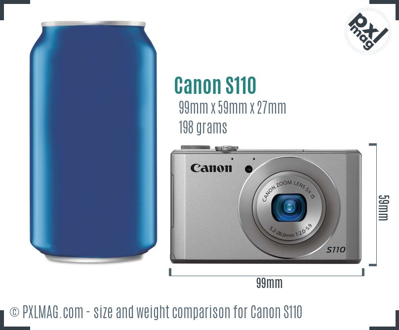 Canon PowerShot S110 dimensions scale
