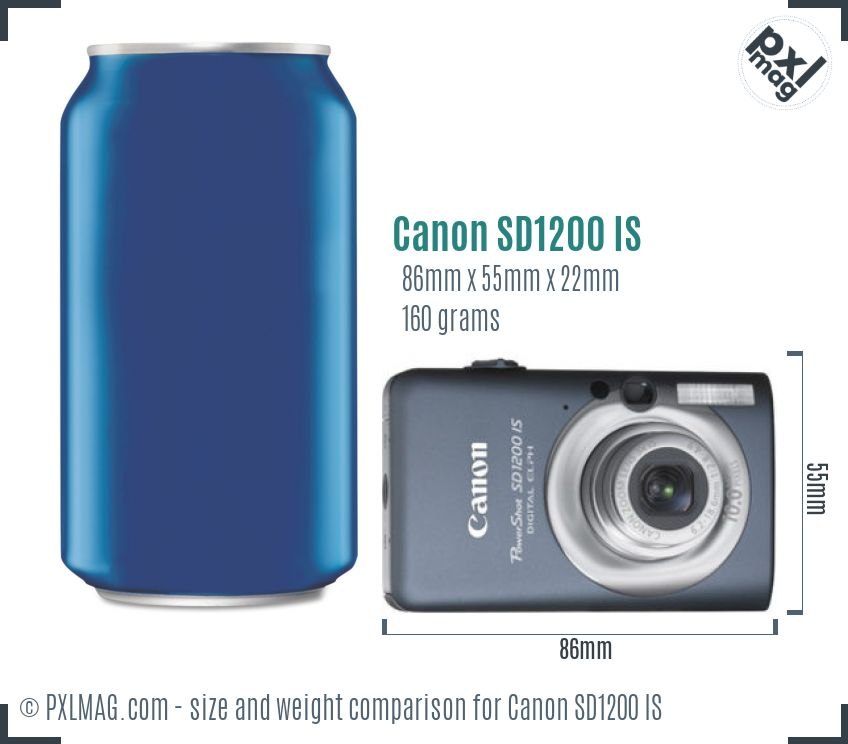 Canon PowerShot SD1200 IS dimensions scale