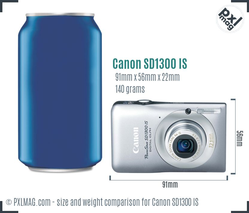 Canon PowerShot SD1300 IS dimensions scale