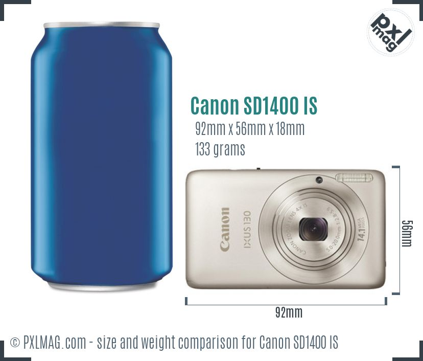 Canon PowerShot SD1400 IS dimensions scale