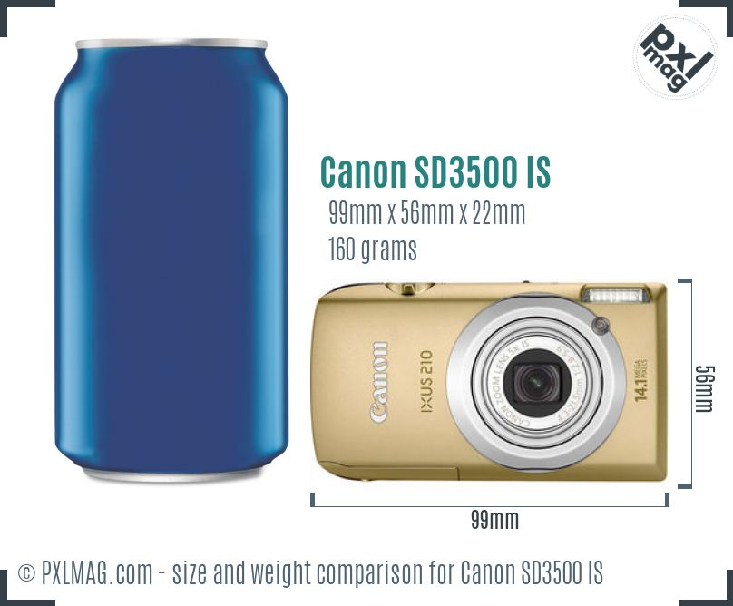 Canon PowerShot SD3500 IS dimensions scale
