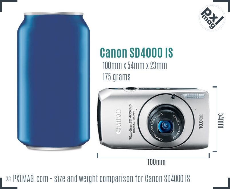 Canon PowerShot SD4000 IS dimensions scale