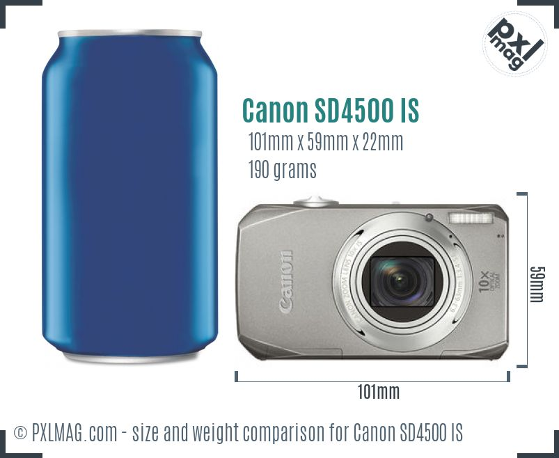 Canon PowerShot SD4500 IS dimensions scale