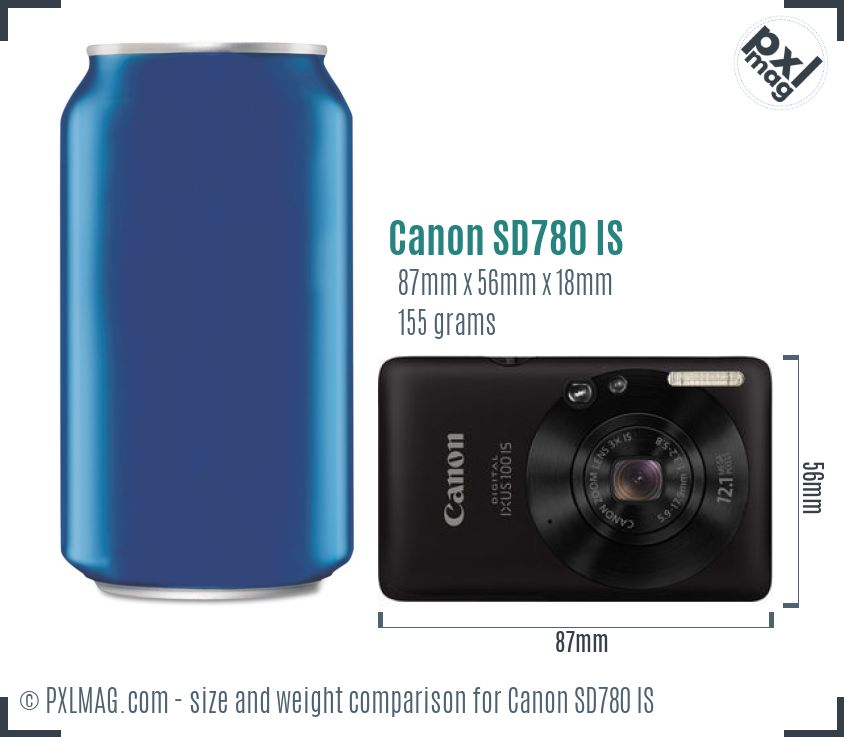 Canon PowerShot SD780 IS dimensions scale