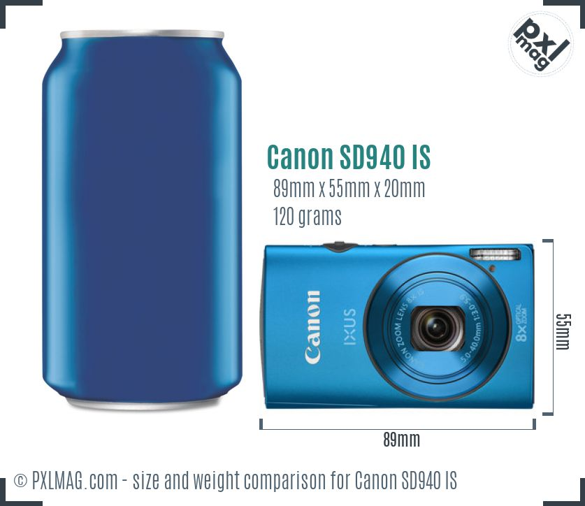 Canon PowerShot SD940 IS dimensions scale