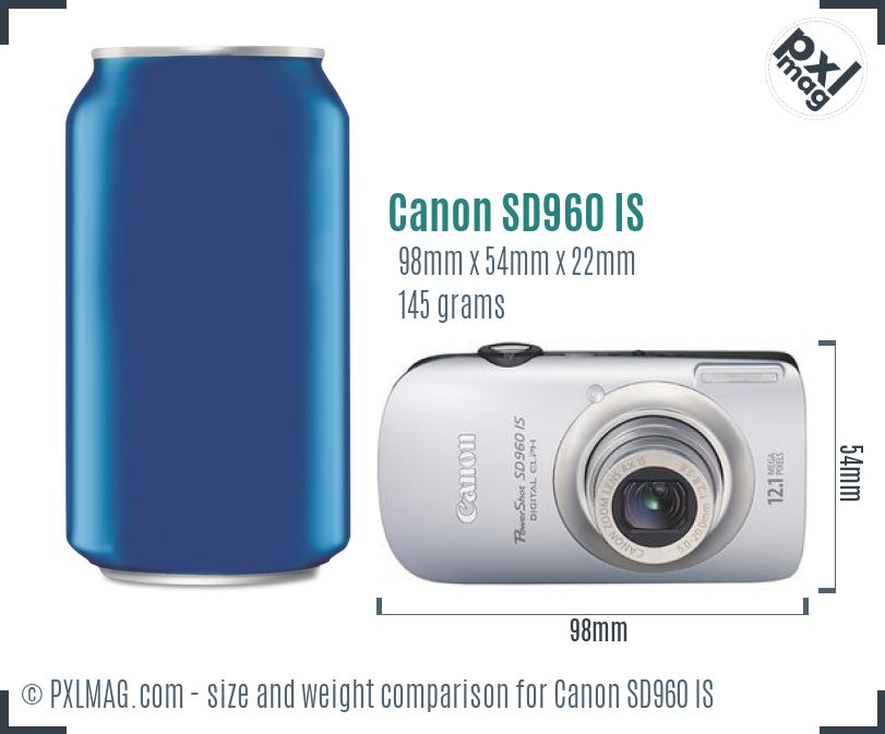Canon PowerShot SD960 IS dimensions scale