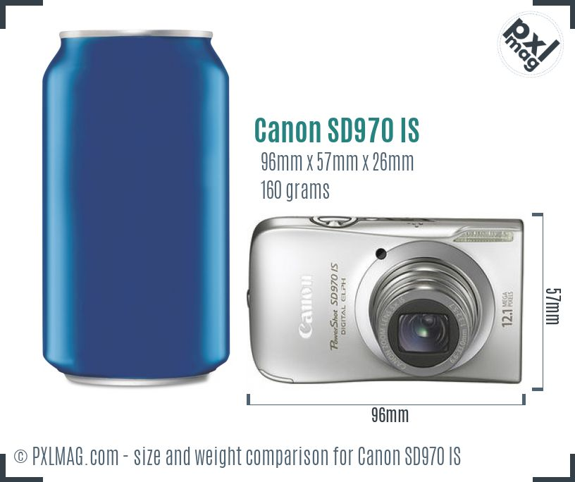 Canon PowerShot SD970 IS dimensions scale