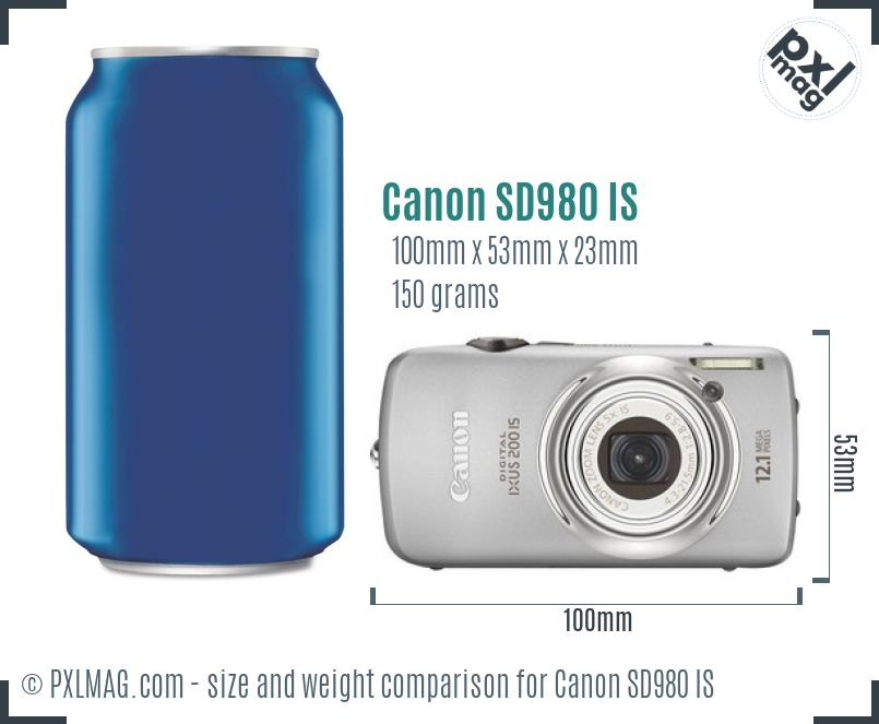 Canon PowerShot SD980 IS dimensions scale
