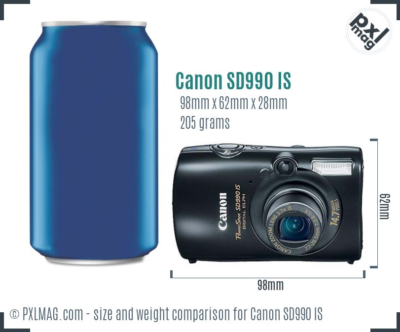 Canon PowerShot SD990 IS dimensions scale