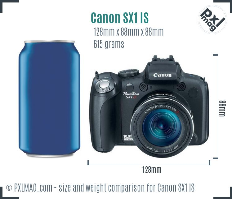 Canon PowerShot SX1 IS dimensions scale
