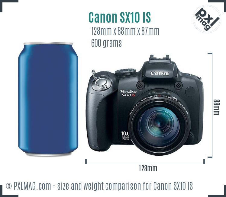 Canon PowerShot SX10 IS dimensions scale