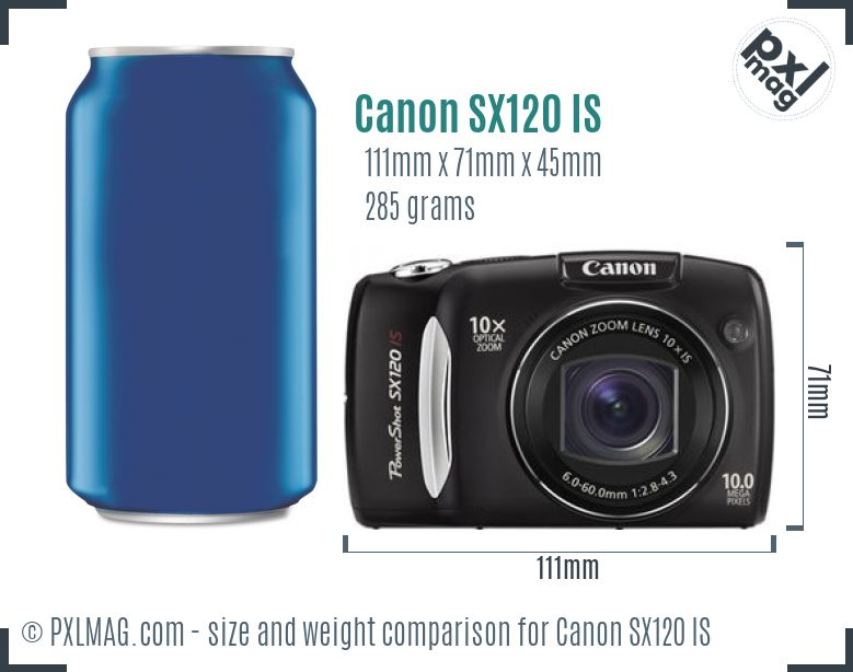 Canon PowerShot SX120 IS dimensions scale