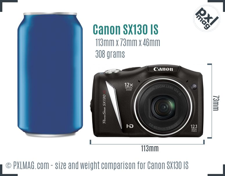 Canon PowerShot SX130 IS dimensions scale