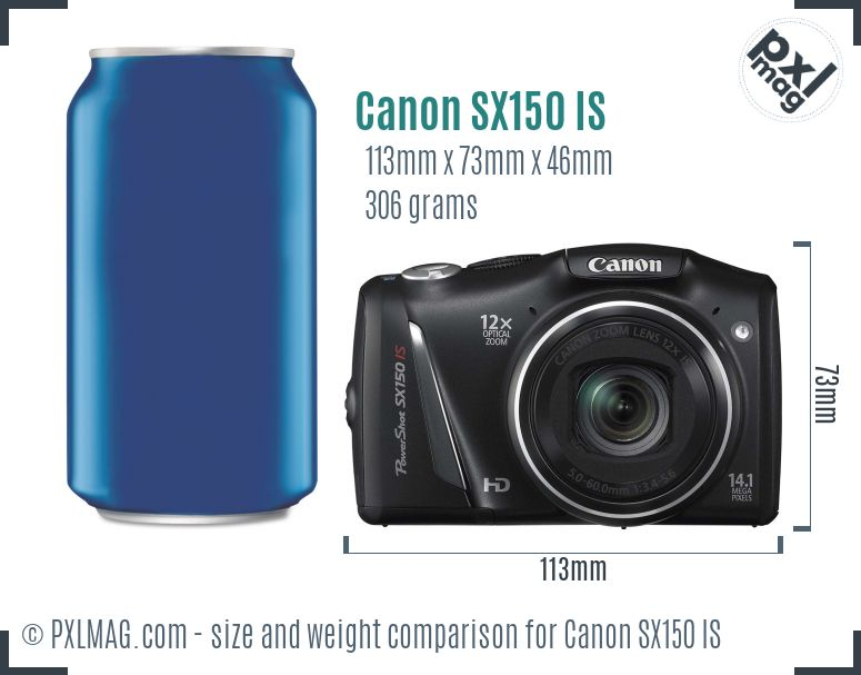 Canon PowerShot SX150 IS dimensions scale
