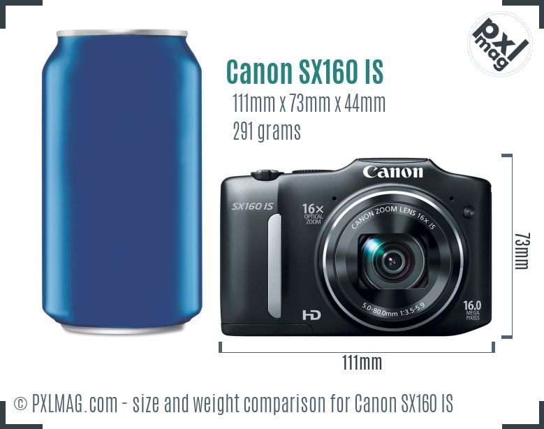 Canon PowerShot SX160 IS dimensions scale
