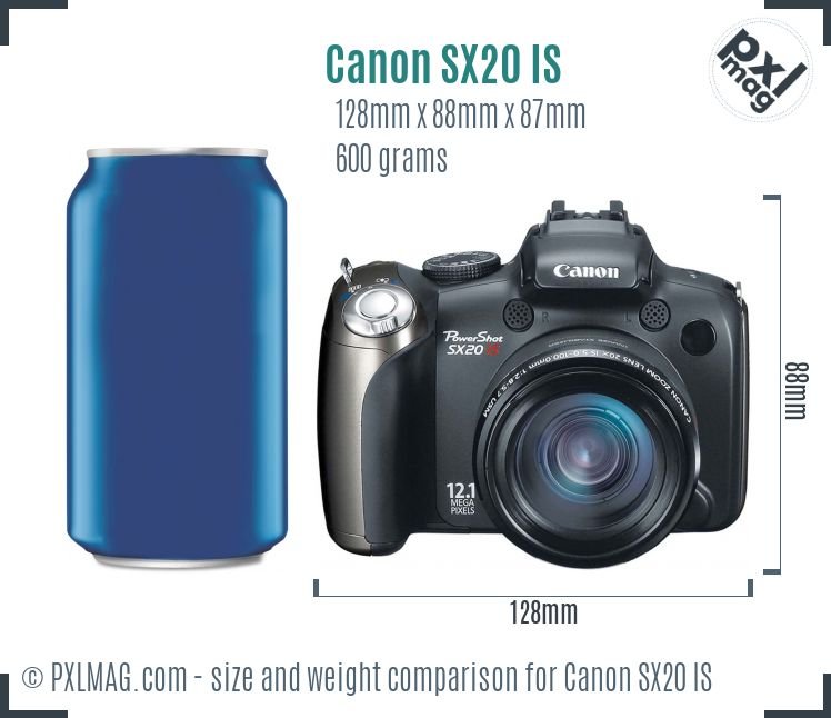 Canon PowerShot SX20 IS dimensions scale