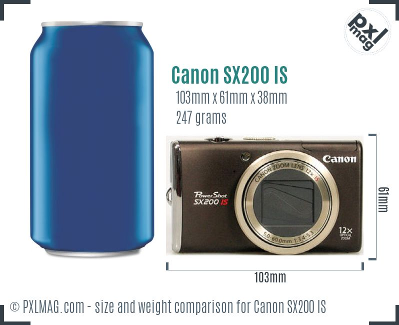Canon PowerShot SX200 IS dimensions scale