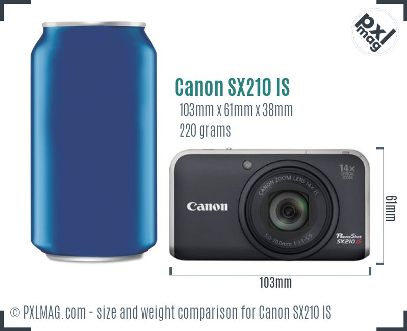 Canon PowerShot SX210 IS dimensions scale
