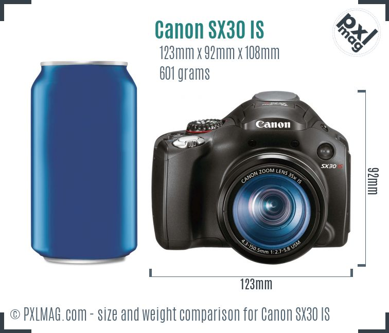 Canon PowerShot SX30 IS dimensions scale