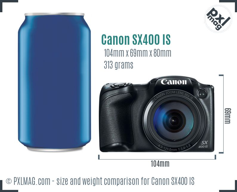 Canon PowerShot SX400 IS dimensions scale