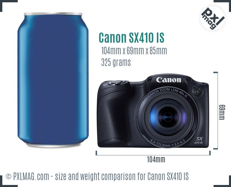 Canon PowerShot SX410 IS dimensions scale