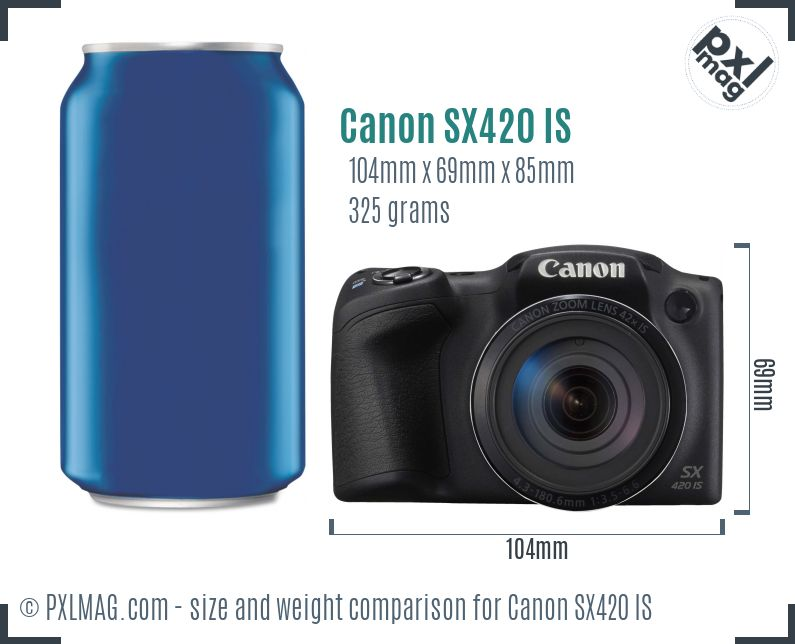 Canon PowerShot SX420 IS dimensions scale
