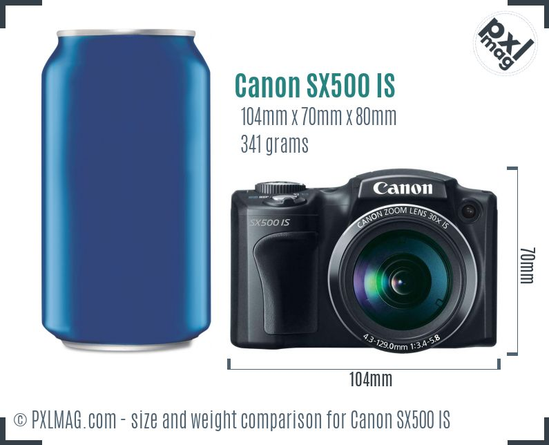 Canon PowerShot SX500 IS dimensions scale