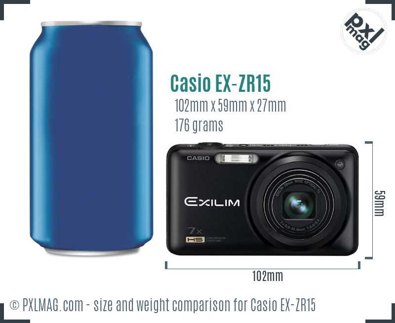Casio Exilim EX-ZR15 dimensions scale