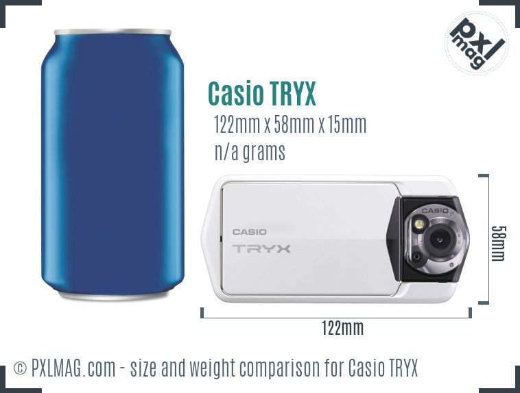 Casio Exilim TRYX dimensions scale