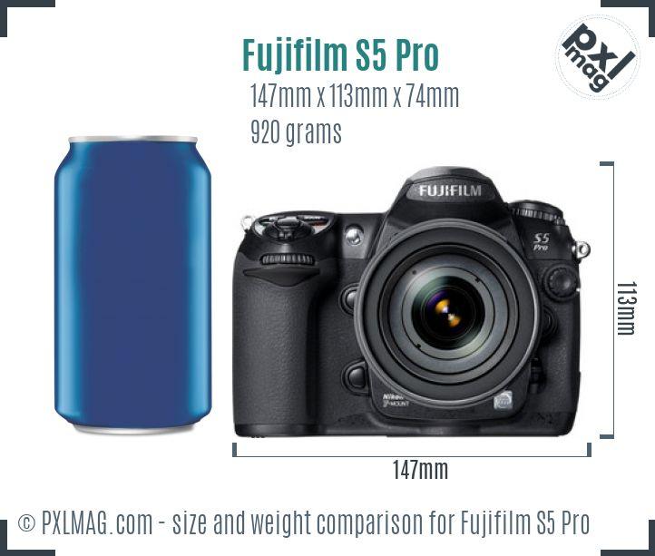 Fujifilm FinePix S5 Pro dimensions scale