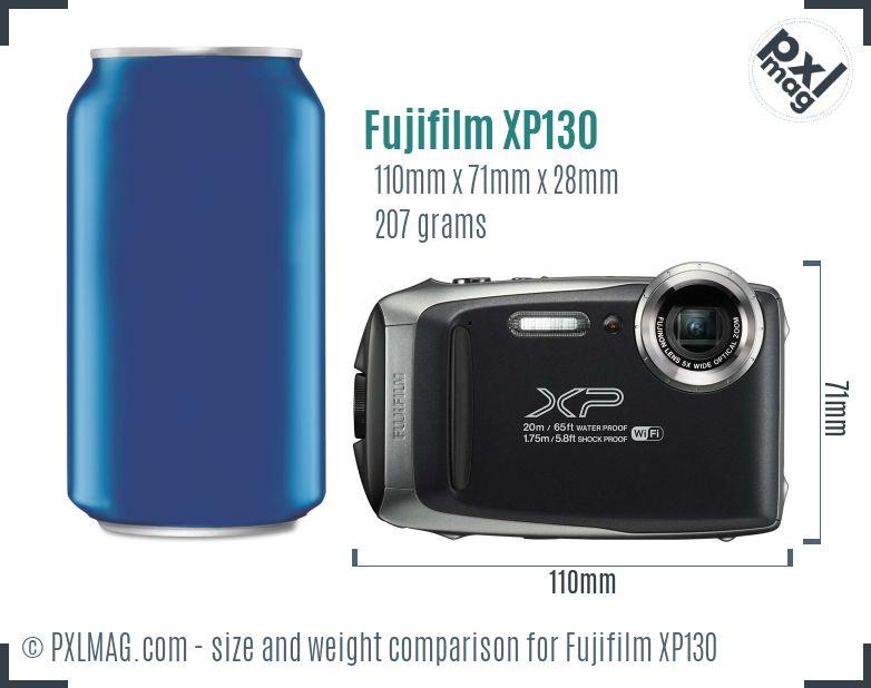 Fujifilm FinePix XP130 dimensions scale