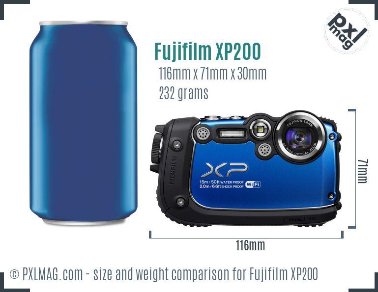 Fujifilm FinePix XP200 dimensions scale