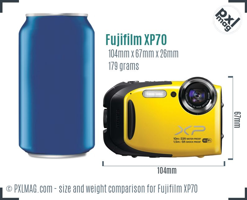 Fujifilm FinePix XP70 dimensions scale