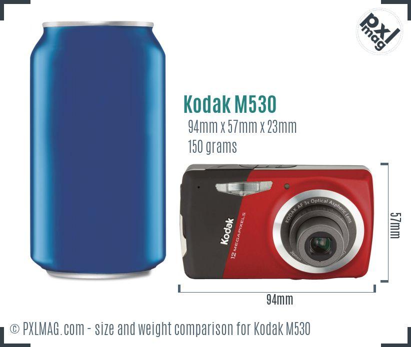 Kodak EasyShare M530 dimensions scale