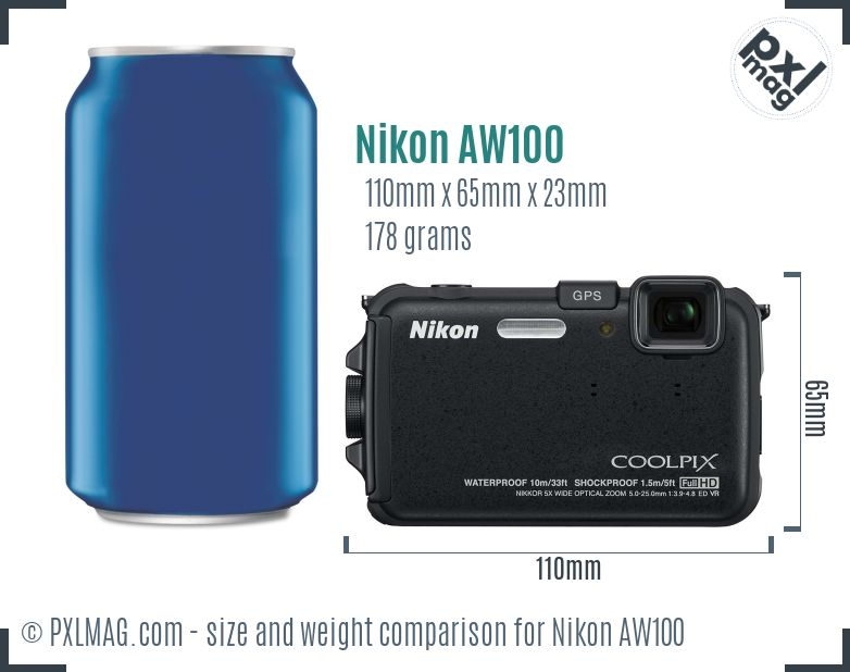 Nikon Coolpix AW100 dimensions scale