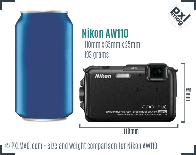 Nikon Coolpix AW110 dimensions scale