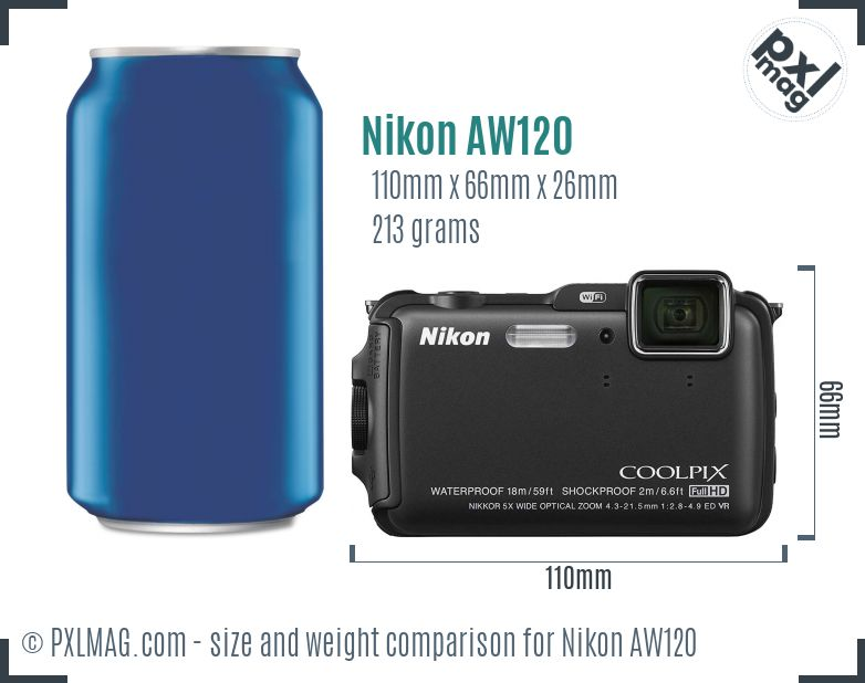 Nikon Coolpix AW120 dimensions scale