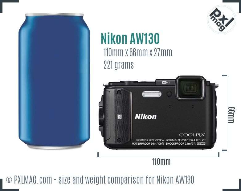 Nikon Coolpix AW130 dimensions scale