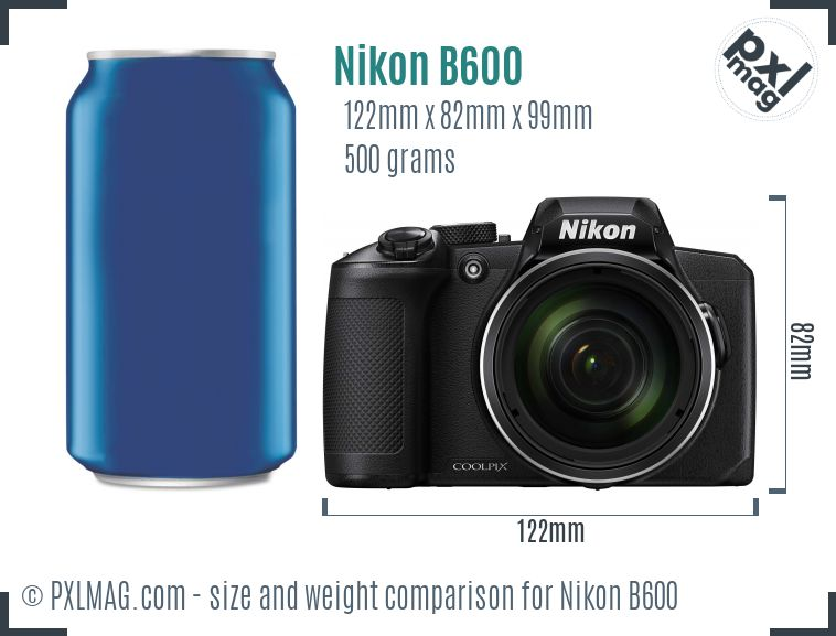 Nikon Coolpix B600 dimensions scale