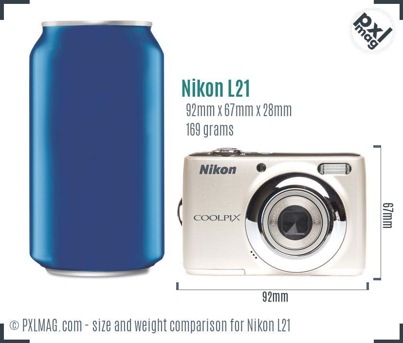 Nikon Coolpix L21 dimensions scale