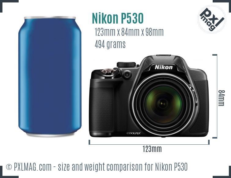 Nikon Coolpix P530 dimensions scale